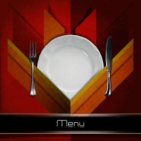 Restaurant menu with empty white plate and silver cutlery, fork and knife, on red and orange velvet background with geometric shapes and shadows photo