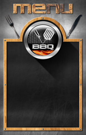 Empty blackboard with wooden frame, symbol of barbecue, fork, knife and spatula, on a metal background. Template for recipes or barbecue menu photo