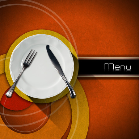 menu restaurant: Restaurant menu with empty plate and cutlery, on an orange velvet background with yellow, red and orange circles with horizontal black band with written menu Stock Photo