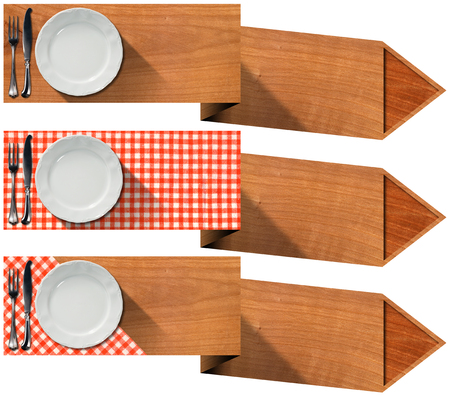 Collection of three kitchen banners with white empty plate, silver cutlery, red and white checkered tablecloth and wooden arrows. Isolated on white background photo