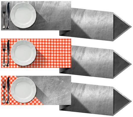 Collection of three kitchen banners with white empty plate, silver cutlery, red and white checkered tablecloth and metallic arrows. Isolated on white background photo