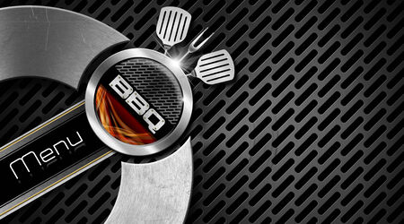 Bbq menu design with metallic round barbecue symbol with metallic grill and flames, on dark metal background photo