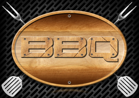 wooden signboard: Oval wooden signboard with written Bbq (barbecue) and kitchen utensils on a dark metallic grill