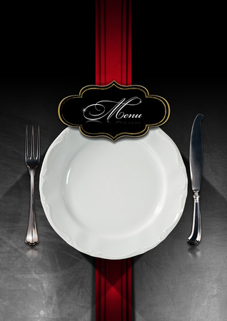 menu restaurant: Restaurant menu with empty plate and cutlery, on steel brushed background with red velvet vertical band and black label with written menu