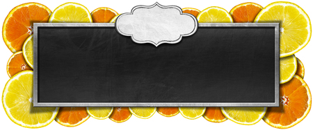 Blackboard with metal frame, empty label and frame of oranges and lemons. Isolated on white background photo
