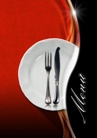 Red and black velvet background with soft waves and metal wave with reflections, empty white plate and cutlery. Template for a elegant food menu photo
