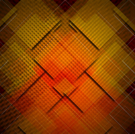 disordered: Red, yellow, black and orange abstract background with squares shapes Stock Photo