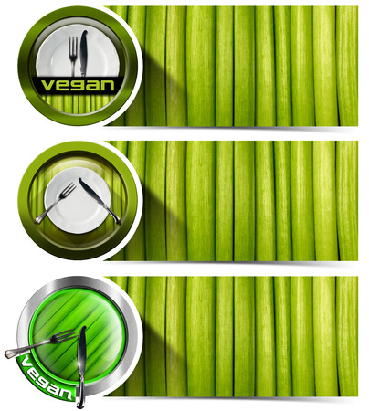 Collection of three vegan banners with empty white plate, silver cutlery and green vegetables. Isolated on white background photo