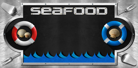 Blackboard with a metal frame on a metallic background with kitchen utensils, lifebuoys, seashells and sea waves. Template for recipes or seafood menu photo