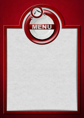Restaurant menu with white and red plates with silver cutlery, fork and knife, written menu, on red velvet background and white paper with frame photo