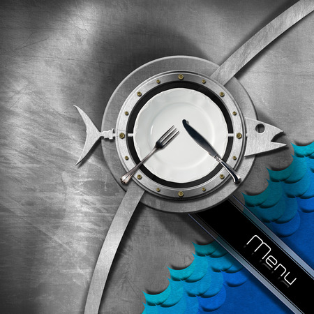 Metallic brushed background with porthole and metal fish with blue waves, empty white plate and cutlery, diagonal black band with text menu. Template for a seafood menu photo