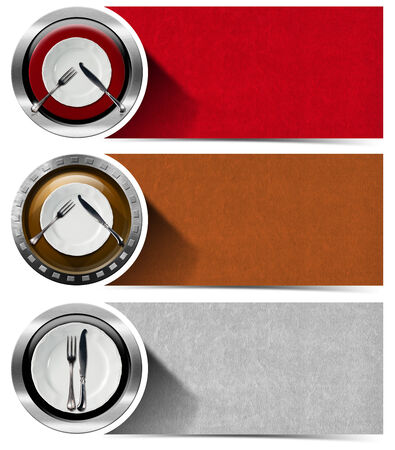 Collection of three kitchen banners with white and red empty plates, silver cutlery, red, brown and gray velvet backgrounds. Isolated on white background photo