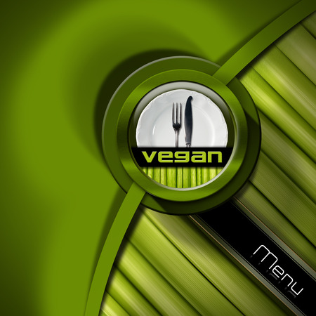 Vegan menu design with empty white plate and silver cutlery, fork and knife, on green background and vegetables photo