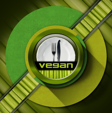 Vegan menu design with empty white plate and silver cutlery, fork and knife, on green background with circles and vegetables photo