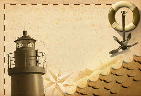 adventurous: Old yellowed paper with spots, compass rose, lifebuoy, sailing ship, old rusty anchor and lighthouse. Concept of adventurous travels