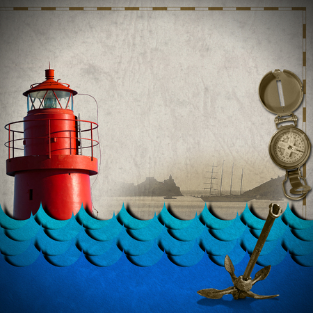 adventurous: Red lighthouse, compass, sailing ship, blue waves and old rusty anchor on paper. Concept of adventurous travels