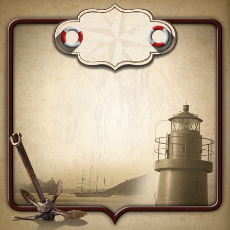 adventurous: Old brown paper with empty label with compass rose and two lifebuoys, sailing ship, old anchor and lighthouse. Concept of adventurous travels Stock Photo