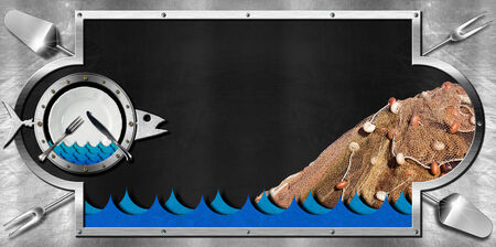 Horizontal empty blackboard on a metallic background with kitchen utensils, fishing net, plate and cutlery and metal fish. Template for recipes or seafood menu photo