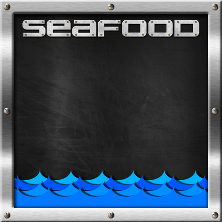 Empty blackboard with metal frame and screws, blue waves and text seafood. Template for recipes or seafood menu photo