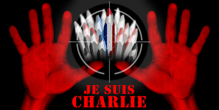 massacre: Viewfinder of rifle on pencil with the colors of the French flag and text i am charlie in french and two bloody red hands Stock Photo