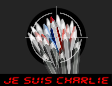 charlie: Viewfinder of rifle on pencil with the colors of the French flag and text i am charlie in french
