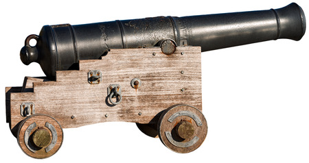 Old naval cannon 1819, isolated on a white background