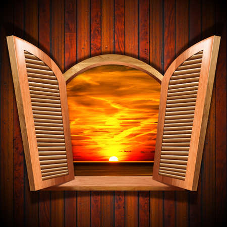 Brown wooden window with open shutters and view of a beautiful sunset over the sea with cloudy sky, on wooden wall. photo