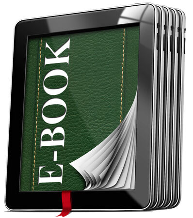 ebook cover: Set of black tablet computers with green cover in leather and text e-book, curled pages, red bookmark. Isolated on white background Stock Photo