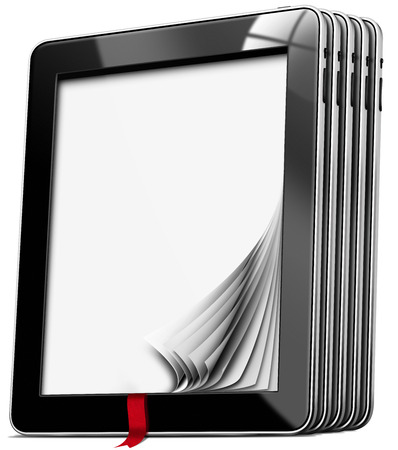 Set of black tablet computers with blank pages and red bookmark isolated on white background