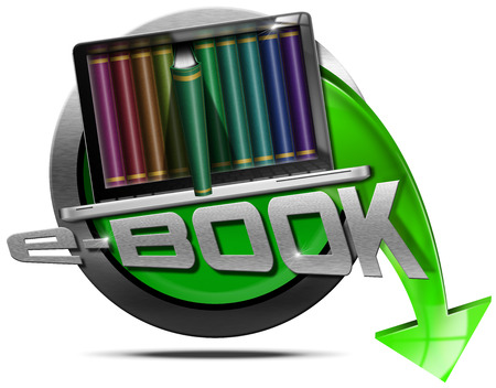 Round metallic icon or symbol of e-Book with laptop computer with books and green arrow. Isolated on white background photo