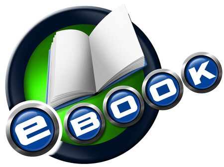 e book reader: Blue, green and metallic icon or symbol with empty book and text ebook. Isolated on white background Stock Photo
