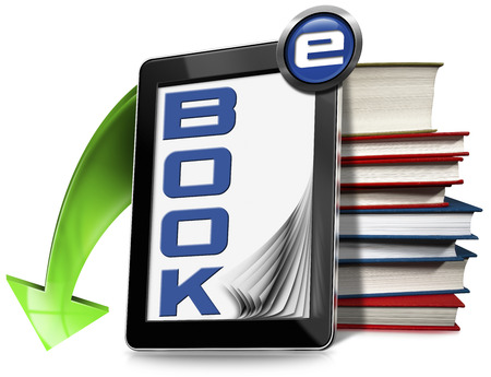 e reader: Black tablet computer with blank pages, text ebook, green arrow and a stack of books. Isolated on white background