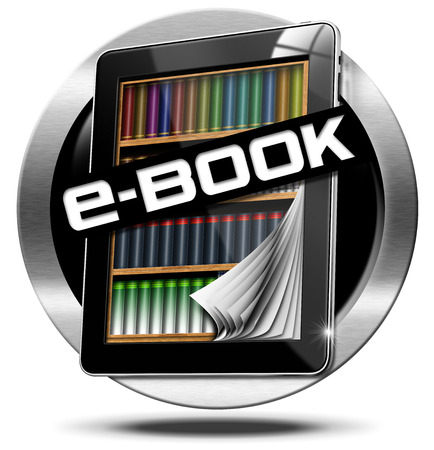 e magazine: Round metallic icon or symbol of e-Book with tablet computer with bookcase inside and curled pages and text ebook. Isolated on white background