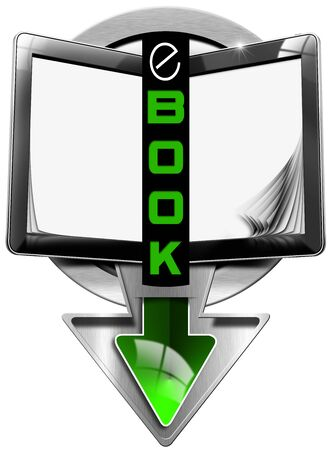 e reader: Round metallic icon or symbol of e-Book with tablet computer in the shape of book with curled and blank pages and text ebook