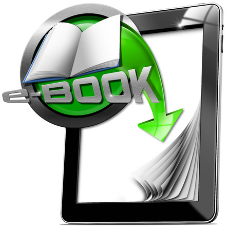 e magazine: Tablet computer with blank pages with metallic and green Icon with empty book, text e-Book and green arrow. Isolated on white background