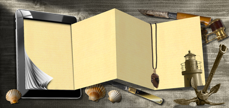 adventurous: Tablet computer with folded pages, folding knives, binoculars, seashells, flint, lighthouse and rusty anchor. Concept of adventurous travels