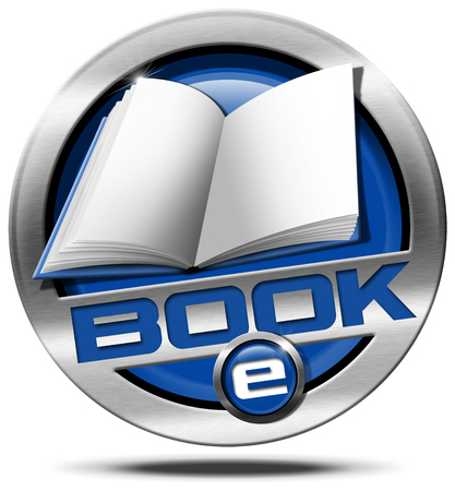 Metallic and blue Icon or button with empty book and text e-Book. Isolated on white background photo