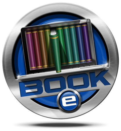 Round metallic icon or symbol of e-Book with laptop computer with books. Isolated on white background photo
