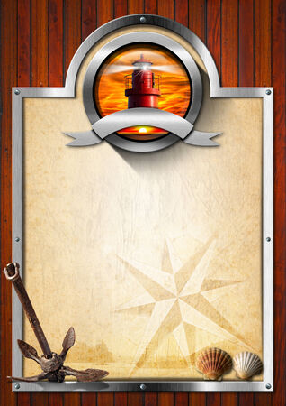adventurous: Vertical nautical signboard with metal symbol with lighthouse, rusty anchor, seashells on wooden background with metal frame. Concept of adventurous journey Stock Photo