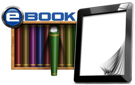 Black tablet computer with empty and curled pages, ebook symbol and library with colored books. Isolated on white background photo