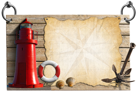 adventurous: Wooden signboard with compass rose on a parchment, seashells, old anchor, lifebuoy and red lighthouse. Concept of adventurous travels Stock Photo