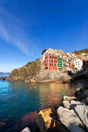 Riomaggiore village, cinque terre national park in Liguria Italy. UNESCO world heritage site