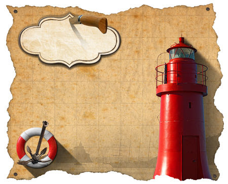 adventurous: Brown parchment with a red lighthouse, lifebuoy, sailing ship, rusty anchor and empty label with pen knife. Concept of adventurous Journeys