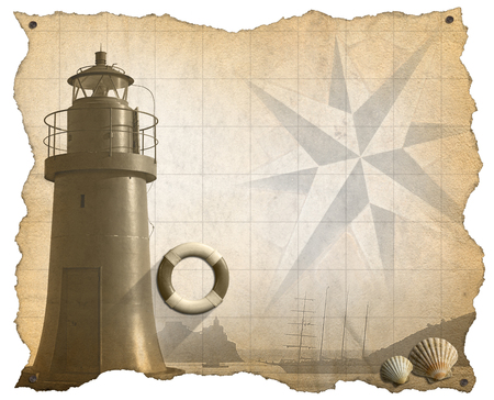 adventurous: Brown parchment with a lighthouse, lifebuoy, seashells, compass rose and a sailing ship. Concept of adventurous Journeys Stock Photo