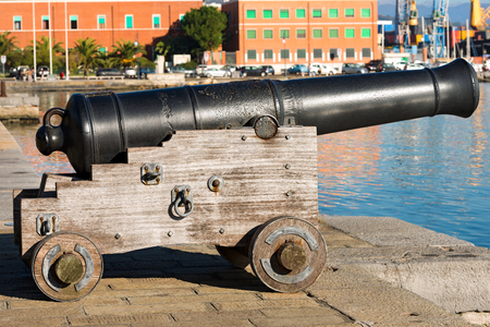 muzzleloader: Old naval cannon 1819, harbor of La Spezia, Liguria, Italy