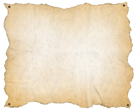 paper notes: Brown empty parchment or sheet of paper with nails, isolated on a white background