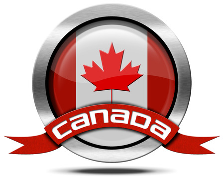 canadian icon: Metal icon or symbol with Canadian flag and red ribbon with text Canada. Isolated on white background