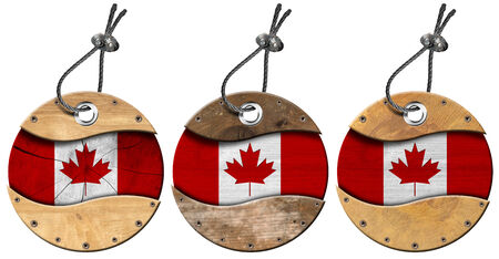 steel cable: Four wooden labels with Canadian flags with steel cable. Isolated on white background