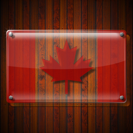 canadian flag: Glass or plexiglass framework with Canadian Flag on wooden wall