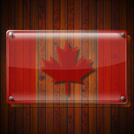 Framework: Glass or plexiglass framework with Canadian Flag on wooden wall